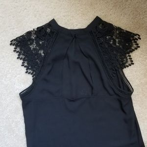 Express Tops - Lace detail sleeved tank